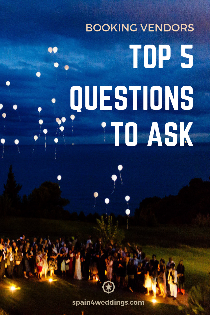 Booking vendors - Top 5 questions to ask