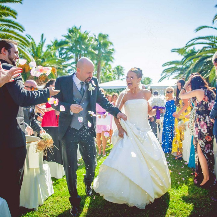 The pros and cons of walking down the aisle together. Photo by Marc Prades