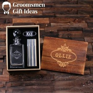 Personalized Whiskey Decanter with Cigar Gift Box
